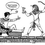 Small Ra and Pharoah, from the Official Sidekick Handbook, illustrated by Jim Public, aka James Hough