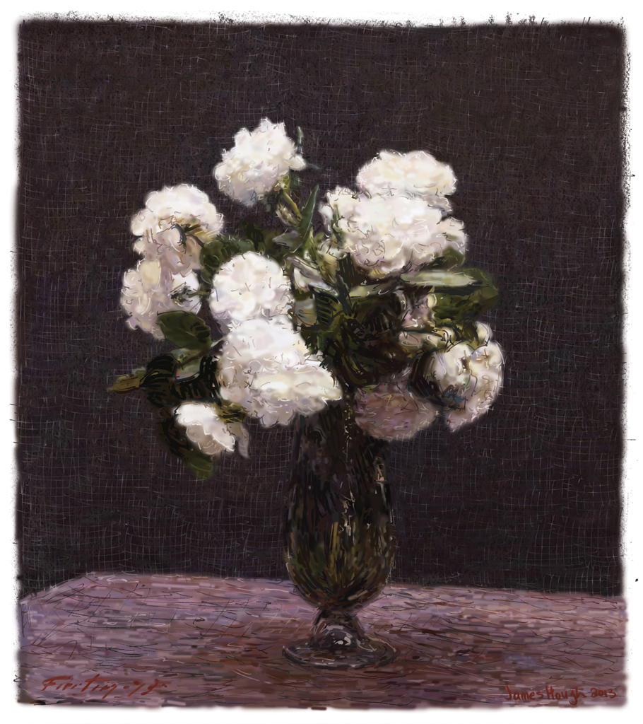James Hough, Hank's White Roses, 2014, digital painting