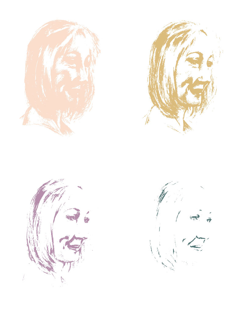 JK Rowling portrait stencil layers, by James Hough