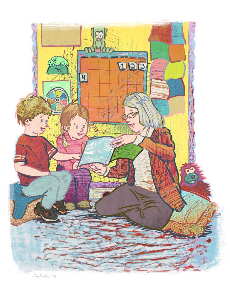 Teacher reading, by Jim Public