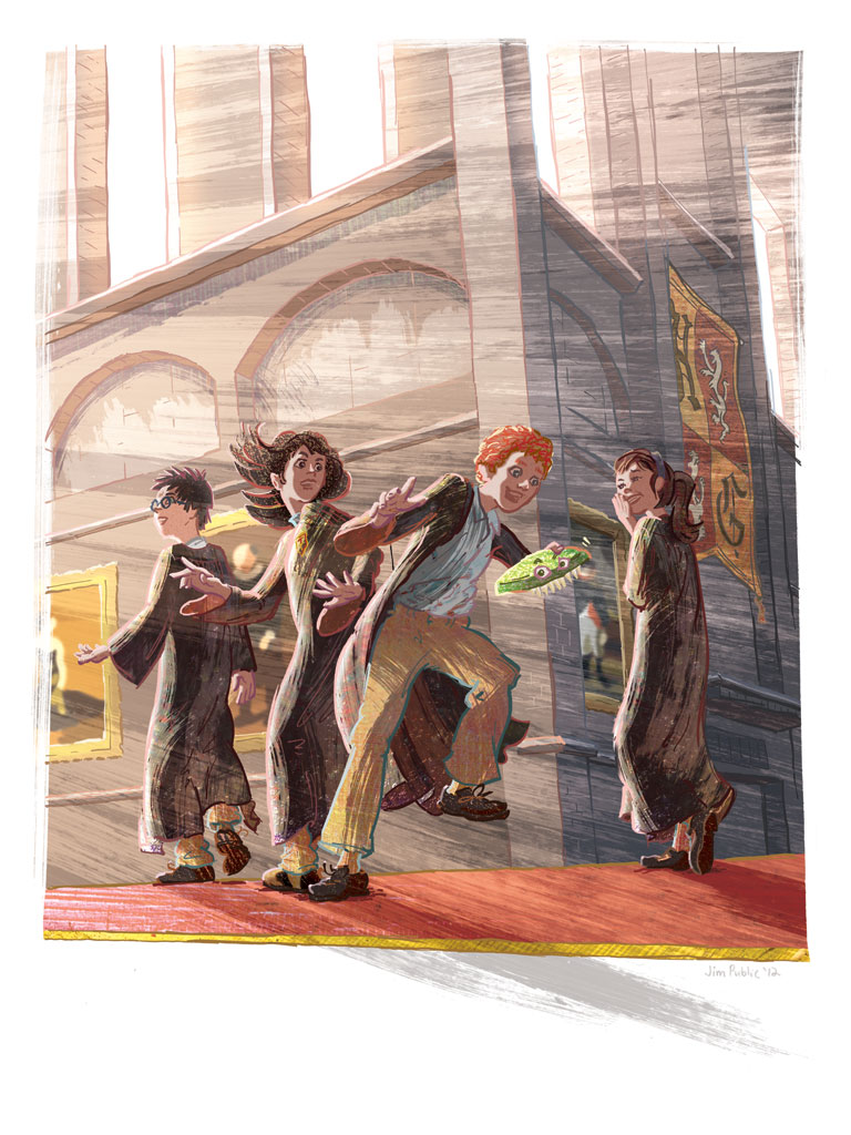 Scene from Harry Potter and the Half-Blood Prince, illustration by Jim Public