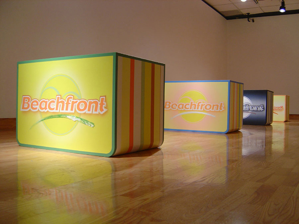 Beachfront floor installation, 2004, by Jim Public, aka James Hough