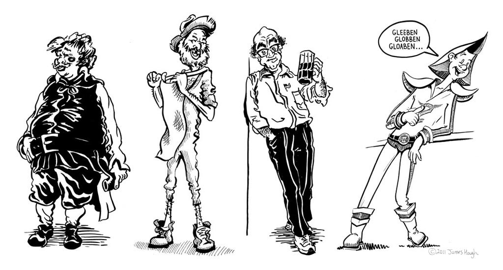 Sidekick archetypes, from the Official Sidekick Handbook, illustrated by Jim Public, aka James Hough