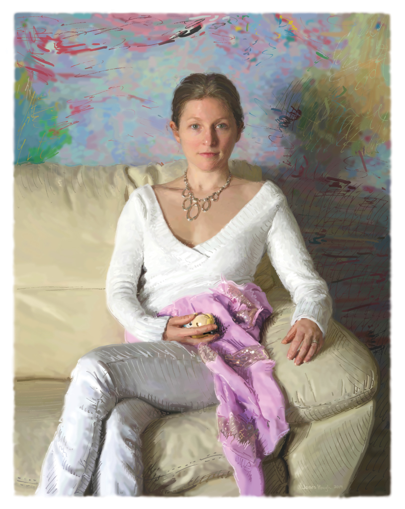 James Hough, Woman with a White Sweater, 2014, digital painting
