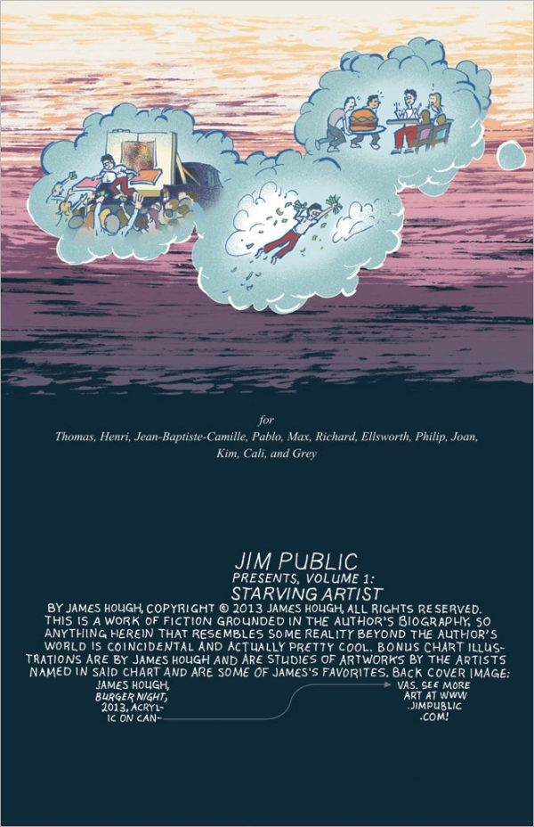 title page, Starving Artist comic book, by James Hough