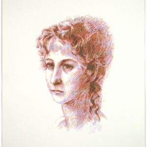 Jane Austen original stencil portrait - jewel tone